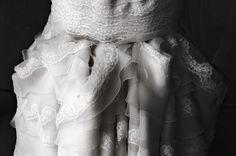 bustle, lacey wedding dress