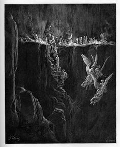 Dante, Virgil and Statius preparing to make a bed of the stairs for the night  Creator: Doré, Gustave  Date: c.1868  Medium: engraving