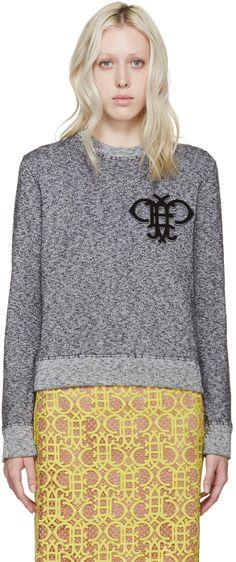 Emilio Pucci Black & White Marled Logo Sweatshirt