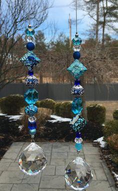 Teal & Blue Crystal Suncatcher 40mm Clear by HeavenlyLightCrystal