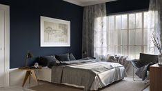 wände streichen ideen schlafzimmer dunkelblaue wandfarbe runder beistelltisch