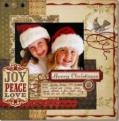 Joy Peace Love Christmas page  Great idea to scrap the annual photo  or to scrap photos received annually.