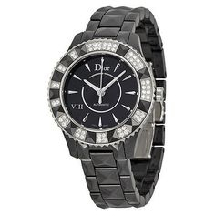 Christian Dior VIII Automatic Diamond Black Ceramic Ladies Watch 1235E0C001 - http://designerjewelrygalleria.com/christian-dior/christian-dior-viii-automatic-diamond-black-ceramic-ladies-watch-1235e0c001/