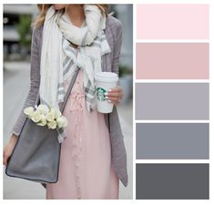 Pink and Gray color palette Colour Combinations Fashion, Color Combinations For Clothes, Fashion Colours, Colorful Fashion, Trendy Fashion, Style Fashion, Colour Pallete, Colour Schemes, Color Combos