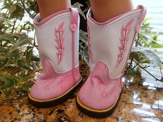 """Pink White Cowgirl Cowboy Doll Boots Shoes for 18"""" American Girl New 