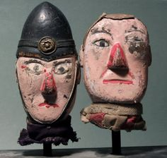 """Circa 1920's Folk Art Carved """"Punch and Judy"""" Puppet Heads"""