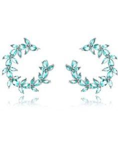 brinco argola prata com zirconias turmalina semi joias da moda