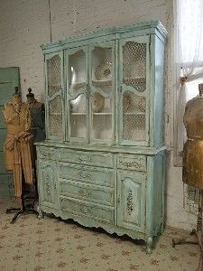 Image Detail For  Vintage Painted Cottage Chic Shabby Aqua China Cabinet  With Secretary .