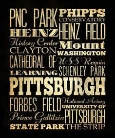 Pittsburgh, Pennsylvania, Typography Art  Canvas / Bus/ Transit / Subway Roll Art 20X24-Pittsburgh's Attractions Wall Art Decoration-LHA-20. $164.95, via Etsy.