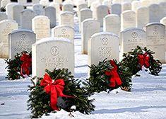 The Rock Island Illinois Arsenal National Cemetery. December on National Wreaths Across America Day, Rock Island Illinois, Veterans Cemetery, Wreaths Across America, National Cemetery, The Rock, Arsenal, Pillar Candles, December, Candles