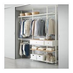 IKEA - ELVARLI, 3 Elemente, Diese offene Aufbewahrungskombination lässt sich nach Wunsch ergänzen oder verändern. Vielleicht gefällt sie dir so - wenn nicht, änderst du einfach nach Bedarf und Geschmack.Versetzbare Böden und Kleiderstangen für bedarfsangepasste Aufbewahrung.Offene und geschlossene Verwahrung lässt sich nach Wunsch kombinieren - mit Böden für Dekoratives und Schubladen für alles, was man gern verschwinden lassen will.Integrierte Stopper dämpfen den Schwung beim Zuschieben…