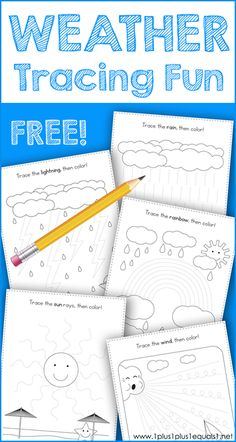 Weather Tracing Fun : This Weather Theme Tracing Fun printable set is great for Tot School, Preschool and Kindergarten. Work on fine motor skills while tracing a sun, rain, rainbow, lightning and more fun weather activity pages. Weather Activities Preschool, Weather Science, Weather Unit, Preschool Themes, Preschool Printables, Preschool Learning, Teaching Weather, Homeschool Kindergarten, Kindergarten Worksheets