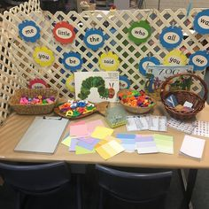 walker learning - literacy resource table with plenty of opportunities to write and investigate Literacy And Numeracy, Kindergarten Activities, Classroom Activities, Learning Activities, Reggio Classroom, Preschool Literacy, Classroom Displays, Writing Station, Writing Area
