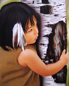 Native American Girl Feathers - cute