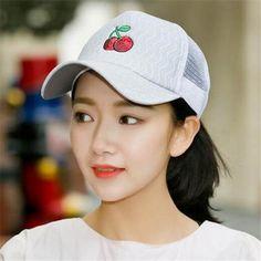 0242dc0ff4e Cherry Embroidered trucker cap for teenage girls summer baseball caps