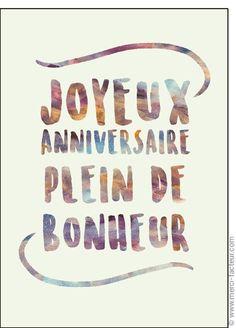 Carte Joyeux anniversaire plein de bonheur pour envoyer par La Poste, sur Merci-Facteur !