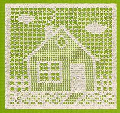 House - filet crochet by Susan Lowman Crochet Tunic Pattern, Crochet Square Patterns, Crochet Motifs, Crochet Borders, Crochet Cross, Crochet Squares, Crochet Home, Thread Crochet, Crochet Granny