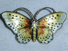 Beauty Finn Jensen Norway Sterling Enamel Guilloche Butterfly Brooch | eBay