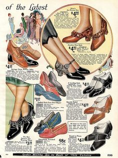 1925 Sears Catalog Oxford Shoe - Characterized by shoelace eyelet tabs that are attached under the vamp, a feature known as closed lacing. 20s Fashion, Fashion History, Autumn Fashion, Vintage Fashion, Victorian Fashion, Fashion Ideas, Fashion Art, Womens Fashion, Vintage Outfits