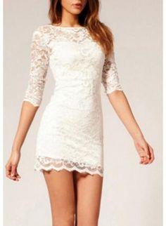 White Party Dress - Lace Bodycon Dress