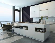 White Custom Kitchen Islands love this! white waterfall caesarstone bench with dark cupboards
