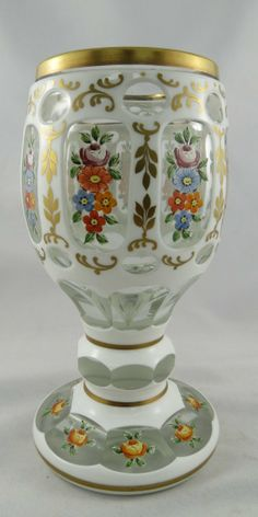 Bohemian Art Glass Hand Painted Goblet.