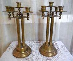 Antique Brass Candelabras Candle Holders by BabylonSisters on Etsy, $65.00