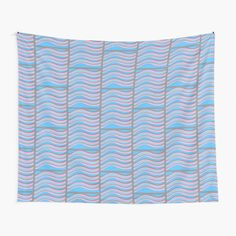 Tapestry 'Waves of blue pink and grey with grey border' Tapestry Design, Wall Tapestry, Pink Grey, Blue, Textile Prints, Vivid Colors, Outdoor Blanket, Waves, Collection