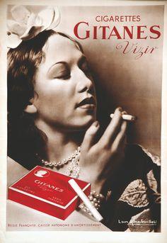 Gitanes vers 1950 <br> ALBIN-GUILLOT LAURE <br> Vizir. <br> 1 Affiche Non-Entoilée / Poster on Paper not lined B.E. B +