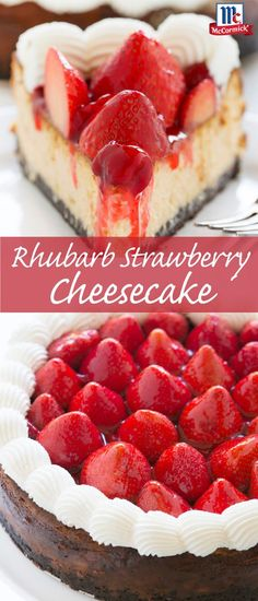 Use up fresh summer strawberries in this delicious strawberry cheesecake recipe. Rhubarb and a chocolate cookie crust add flavor and crunch to this creamy summer dessert recipe.