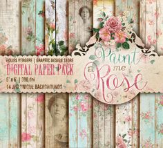 Romantic Roses Digital Paper Pack Aged Wood Textures Printable Backgrounds Shabby Papers Scrapbook Sheets DIY Decoupage Paper Forget Me Not
