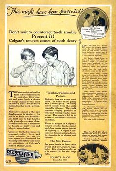 "1925 Colgate Dental Toothpaste original vintage advertisement. Illustrated in mono-tone color. ""Colgate removes the causes of tooth decay."""