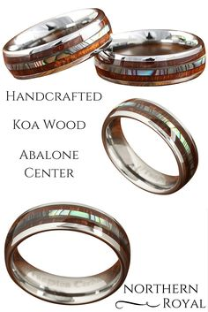 Handcrafted Koa wood ring with a genuine abalone center. The rest of the ring is crafted out of tungsten carbide. What a awesome wood wedding ring! The wood ring is 6mm in width.