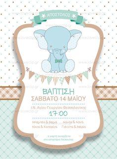 CUTE ELEPHANT  Προσκλητήριο βάπτισης με ελεφαντάκι , δίχρωμο καρώ και πουά background και διακοσμητικό πλαίσιο. Cute Elephant, Romantic, Invitations, Boys, Baby Boys, Romance Movies, Save The Date Invitations, Senior Boys, Sons
