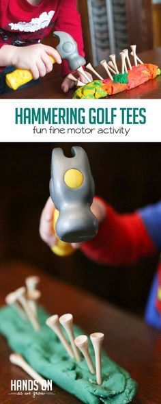 Hammering tees into play dough for toddlers to work on hand and eye coordination via @handsonaswegrow