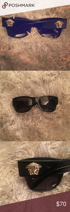 Like new, unisex Versace polarized sunglasses. Unisex Versace sunglasses. Black, heavy duty and can be men or women's. Practically new. Versace Accessories Sunglasses