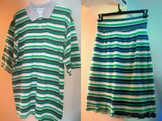 Skirt Upcycled from a Striped Polo Shirt