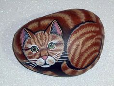 HURRICANE SANDY RELIEF - donating portions of every sale in this shop to the American Red Cross - cat orange tabby stripe kitten cat hand painted rocks by RockArtiste, $35.00
