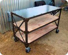 industrial table turned entertainment stand or side bar? Minus wheels