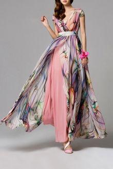 Eavnos Shallow Pink Split Floral Maxi Dress   Maxi Dresses at DEZZAL