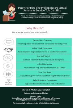 Pinoy For Hire is the ideal outsourcing solution for your business. Hire your dedicated full time employee today. Hire US Today! None of these plans work for you? No problem, we will be more than happy to make one for you, Contact Us Today!