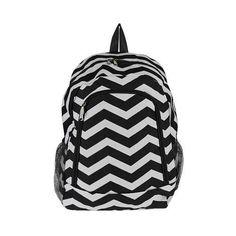 Chevron-Black-and-White-Backpack-School-Bag-Gym-Cheer-Dance-Book-Travel
