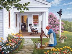 Labor of Love John Sloane - Gallery - Spring Country Art, Country Life, Photo Images, Cottage Art, Farm Art, Country Landscaping, Anne Of Green Gables, Naive Art, Beautiful Paintings