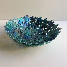 Metallic Blue Jigsaw Puzzle Bowl by SJPuzzles on Etsy Puzzle Piece Crafts, Puzzle Art, Puzzle Pieces, Crafts To Make, Easy Crafts, Crafts For Kids, Arts And Crafts, Paper Crafts, Camping Crafts