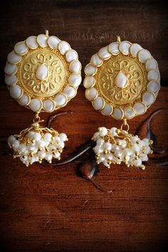 Pacchi earrings on craftsvilla.com by maeshajewels for indian traditional ethnic wear fashion studs with pearl jhumka gold and white