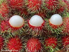 Rambutan   When you peel away the outer skin of a rambutan you will notice that the inside is white with a gummy-like texture. The inside of a rambutan is often described as sweet but tangy. Rambutan originated from Southeast Asia but now is commonly cultivated in Hawaii.