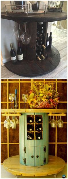 DIY Home Decor DIY Wire Spool Wine Bar Instruction – Wood Wire Spool Recycle Ideas. Great Home Decor ideas from Upcycling by emilydickinson Reclaimed Furniture, Bar Furniture, Repurposed Furniture, Pallet Furniture, Furniture Online, Recycling Furniture, Cheap Furniture, Furniture Movers, Bedroom Furniture