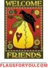 Pear & Crow Welcome Friends House Flag -3 left