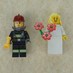 Lego bride and groom, Firefighter Lego cake topper, Firefighter Lego, Lego wedding cake topper, Lego Wedding, Lego Couple, Lego minifigures