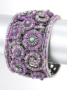 BEAUTIFUL!!!  Southwest Designer Seed Bead And Swarovski Crystal Cuff Bracelet Lilac | TaosSouthwest - Jewelry on ArtFire
